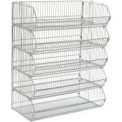 "Stackable Wire Storage Bin Rack, 36""W x 20""D x 51""H, 5 Wire Bins"