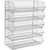 "Stackable Wire Storage Bin Rack, 36""W x 20""D x 45""H, 5 Wire Bins"