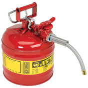 """Justrite 7220120 Type II Safety Can, 2-Gallon with 5/8"""" Flexible Spout, Red"""