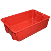 """Molded Fiberglass Nest and Stack Tote 780308-5280 - 19-3/4"""" x 12-1/2"""" x 6"""" Red - Pkg Qty 10"""
