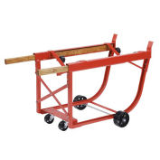 Heavy Duty Drum Cradle, Wood Handles & Steel Wheels, Red