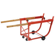 Heavy Duty Rotating Drum Cradle with Wood Handles & Polyolefin Wheels, 30 or 55 Gallon Capacity