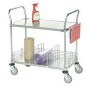 Galvanized Steel Utility Cart, 2 Shelves, 36x18x38