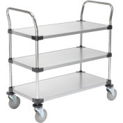 Nexel Galvanized Steel Utility Cart, 3 Shelves, 36x18x38