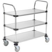 Galvanized Steel Utility Cart, 3 Shelves, 36x24x38