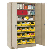 Locking Storage Cabinet With (63) Yellow Removable Bins, 30x15x66