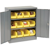 Locking Storage Cabinet With (12) Yellow Removable Bins, 36x18x42