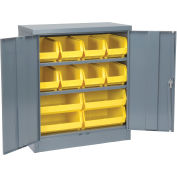 "Locking Storage Cabinet With 12 Yellow Stacking Bins and 2 Shelves, Unassembled, 36""W X 18""D X 48""H"