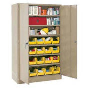 Locking Storage Cabinet With (24) Yellow Removable Bins, 36x18x72