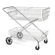 "Wire Utility Basket Mail Cart 200 Lb. Capacity, 44""L x 22""W x 35""H"