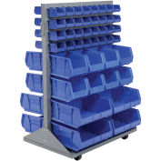 Double-Sided Mobile Rack with (88) Blue Bins, 36x25-1/2x55