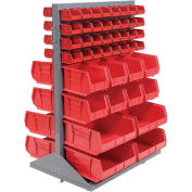 Double-Sided Mobile Rack with (88) Red Bins, 36x25-1/2x55