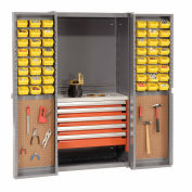 Storage Cabinet With Peboards, 5 Drawers & 64 Yellow Bins, 38x24x72