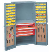 Storage Cabinet With Peboards, 6 Drawers & 64 Yellow Bins, 38x24x72