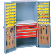 Storage Cabinet With Peboards,4 Drawers & 64 Yellow Bins, 38x24x72