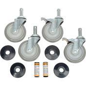 "Nexel Stem Casters Set (4), 5"" Polyurethane Wheel, 2 With Brakes, 1200 Lbs. Capacity"