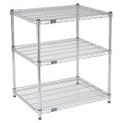 "Nexel Chrome Wire Printer Stand, 3-Shelf, 30""W x 24""D x 34""H"