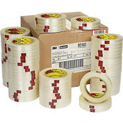 """Reinforced Strapping Tape, 1/2"""" x 60 Yds, 4.6 Mil, Clear - Pkg Qty 72"""