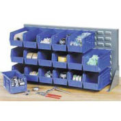 Louvered Bench Rack with (32) Blue Premium Stacking Bins, 36x15x20