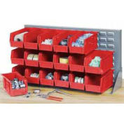 Louvered Bench Rack with (32) Red Premium Stacking Bins, 36x15x20