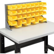 Louvered Bench Rack with (32) Yellow Premium Stacking Bins, 36x15x20