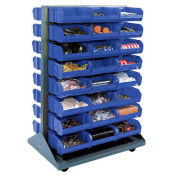 Double-Sided Mobile Rack with (24) Blue Bins, 36x25-1/2x55