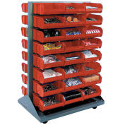 Double-Sided Mobile Rack with (24) Red Bins, 36x25-1/2x55