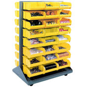 Double-Sided Mobile Rack with (24) Yellow Bins, 36x25-1/2x55