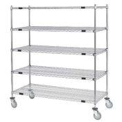 Open Sided Wire Exchange Truck, 5 Wire Shelves, 800 Lb. Cap., 60x24x69