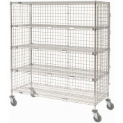 "Enclosed Wire Exchange Truck 5 Wire Shelves 800 Lb. Cap., 60""x24""x69"""
