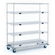 Open Sided Wire Exchange Truck, 5 Wire Shelves, 1000 Lb. Cap, 36x24x69