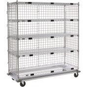 """Enclosed Wire Exchange Truck 5 Wire Shelves 1000 Lb. Cap, 36""""x24""""x69"""""""