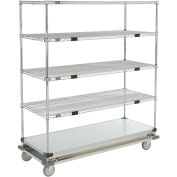 Open Sided Wire Exchange Truck, 4 Wire 1 Galvanized Shelf, 1000 Lb Cap, 60x24x69