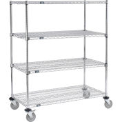 Nexel E-Z Adjust Wire Shelf Truck, 48x24x60, 1200 Lb. Capacity with Brakes