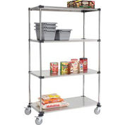 Stainless Steel Shelf Truck, 48x24x80, 1200 Lb. Capacity with Brakes