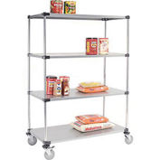 Stainless Steel Shelf Truck, 48x24x92, 1200 Lb. Capacity with Brakes