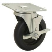 "5"" Polyurethane Wheel, Medium Duty Swivel Plate Caster with Brake, 250 Lb. Capacity"