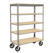 "Easy Adjust Boltless 5 Shelf Truck, Wood Shelves, Rubber Casters, 48""L x 24""W x 68""H"