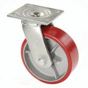 """5"""" Polyurethane Wheel, Heavy Duty Swivel Plate Caster, 500 Lb. Capacity"""