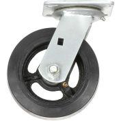 "6"" Mold-on Rubber Wheel, Heavy Duty Swivel Plate Caster, 500 lb. Capacity"