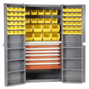 Storage Cabinet With Shelves, 6 Drawers & 68 Yellow Bins, 38x24x72