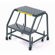 "Ballymore 218P Perforated 16""W 2 Step Steel Rolling Ladder 10""D Top Step"