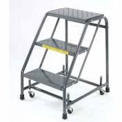 "Ballymore 318P Perforated 16""W 3 Step Steel Rolling Ladder 10""D Top Step"
