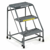 "Ballymore 318G Grip 16""W 3 Step Steel Rolling Ladder 10""D Top Step"