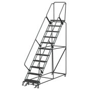 """Ballymore SW1132PIP 11 Step 24"""" W Perforated All Directional Steel Rolling Ladder- Safety Angle"""