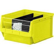 Quantum Magnum Plastic Stackable Storage Bin, 12-3/8 x 19-3/4 x 5-7/8, Yellow - Pkg Qty 6