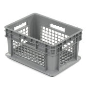 "Akro-Mils 37208 Straight Wall Container Mesh Sides & Base 15-3/4""L x 11-3/4""W x 8-1/4""H, Gray - Pkg Qty 12"