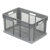 "Akro-Mils 37612 Straight Wall Container Mesh Sides & Base 23-3/4""L x 15-3/4""W x 12-1/4""H, Gray - Pkg Qty 3"