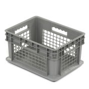 "Akro-Mils 37278 Straight Wall Container Mesh Sides Solid Base 15-3/4""L x 11-3/4""W x 8-1/4""H, Gray - Pkg Qty 12"