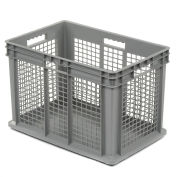 "Akro-Mils 37676 Straight Wall Container Mesh Sides Solid Base 23-3/4""L x 15-3/4""W x 16-1/8""H, Gray - Pkg Qty 2"